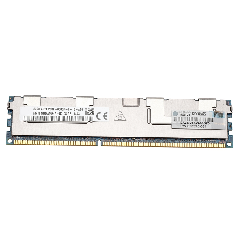 HOT-<font><b>32GB</b></font> PC3-8500R <font><b>DDR3</b></font> 1066Mhz CL7 240Pin <font><b>ECC</b></font> REG Memory RAM 1.35V 4RX4 RDIMM RAM for Server Workstation image