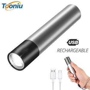 Image 1 - Mini lampe de poche LED 3 modes déclairage étanches rechargeables par USB, avec Zoom télescopique, élégante, Portable, lampe de nuit