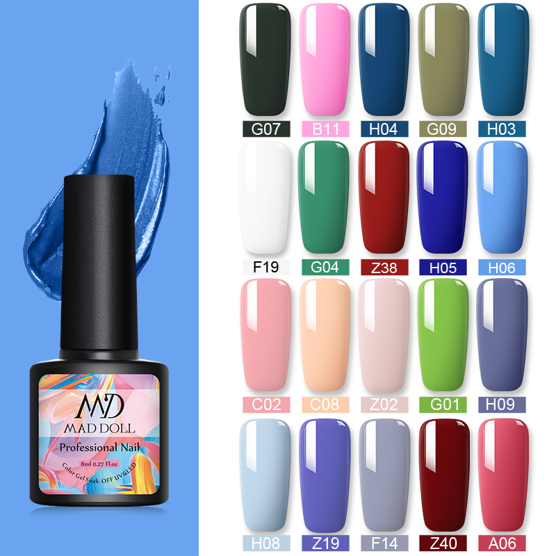 1 Bottle 8ml MAD DOLL Blue Series Soak Off UV Gel Polish  Colorful Nail Art Gel Polish Nail Art Varnish Manicure Design