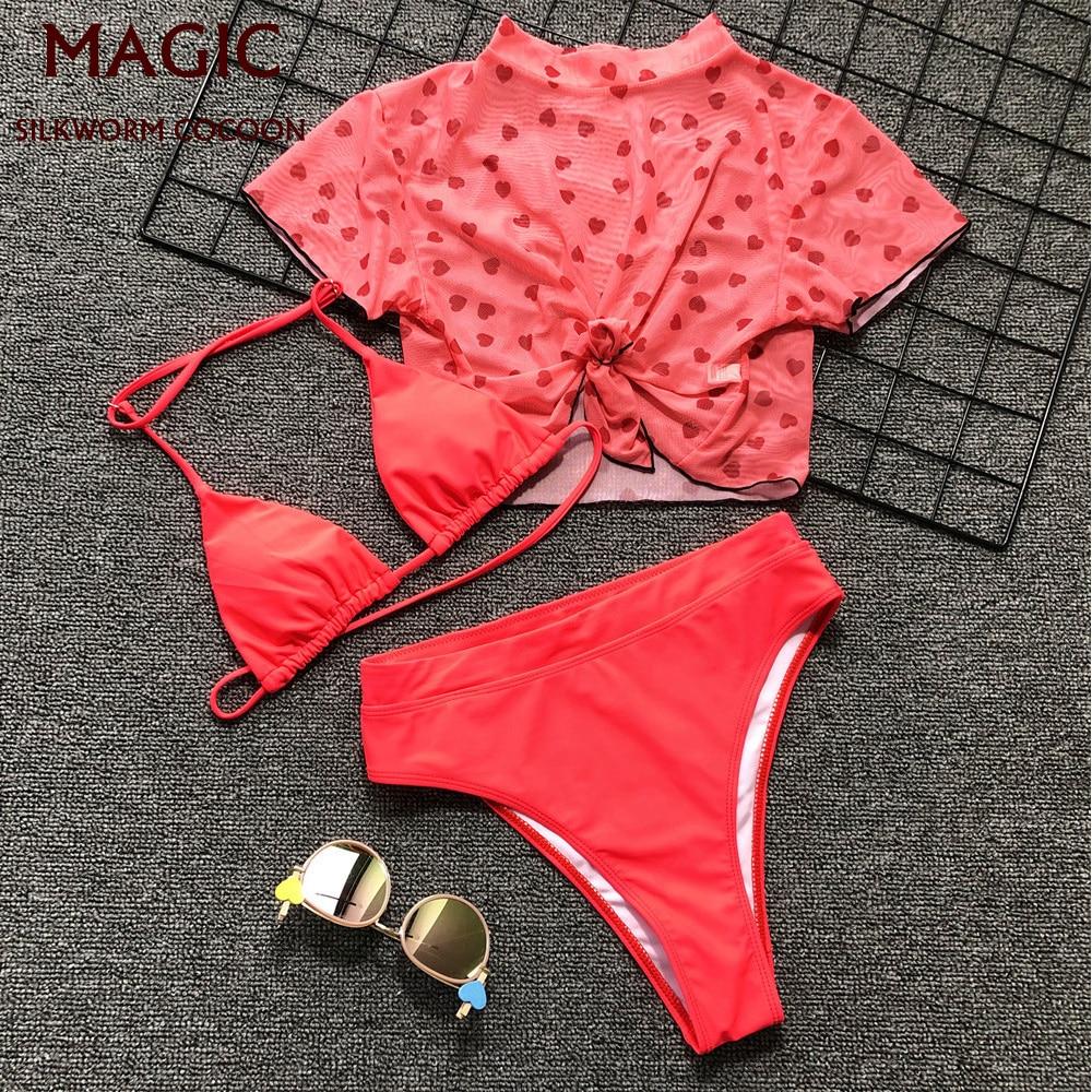 Women Three-piece Bikini Mesh Printing Red Split Body Swimsuit High Waist Beachwear Suit Short Sleeve High Neck Beach Swimwear
