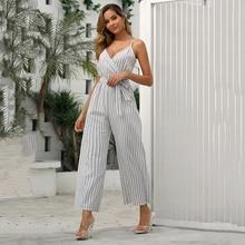 JYSS new long  jumpsuit lady sling spaghetti strap v neck collar combinaison pantalon femme jumpsuits overalls for women 82113