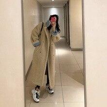 Южная Корея Dongdaemun агенты по закупкам зимнее женское пальто свободного кроя из искусственной норки, кашемировое пальто средней длины из толстой шерсти ягненка