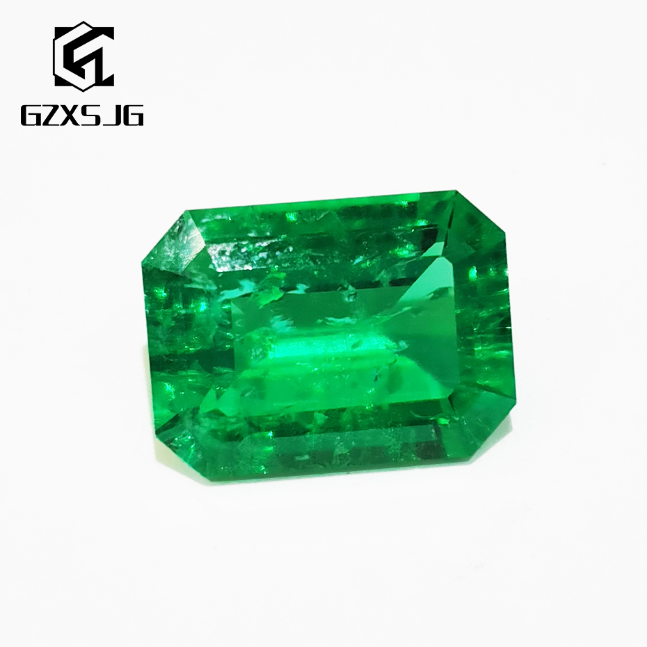 GZXSJG 12x14mm Hydrothermal Colombia Emerald Lab grown Loose Gemstone for Ring Earrings Necklace Emerald cutting Customized DIY
