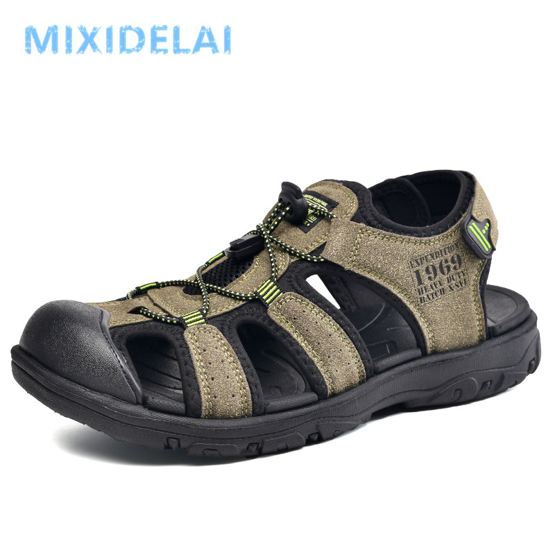 Casual Men Outdoor Sandals Summer Breathable Flat Sole Beach Shoes Comfort Soft Walking Hiking Sandals Athletic Male Shoes 2020