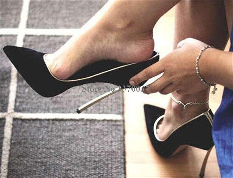 Marque Design femmes bout pointu métal talon aiguille pompes sans lacet blanc bleu rose talons hauts chaussures habillées chaussures de mariage - 4