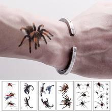 Хэллоуин 3d симулятор скорпиона Паук Временные татуировки наклейки