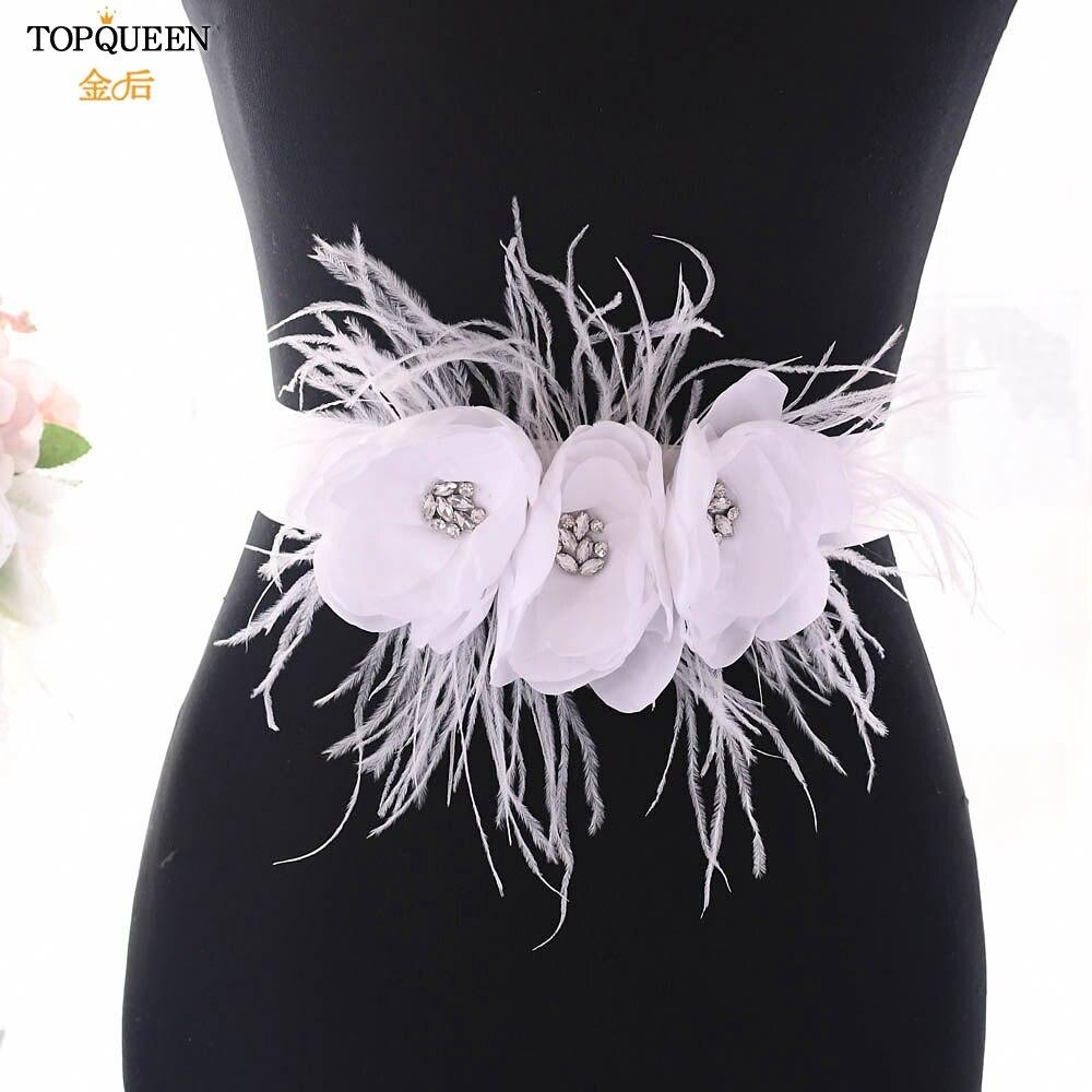TOPQUEEN Belt Sash For Bridesmaid Dress Belt For Wedding Dress White Flower Belts For Women New Fashions Designer Belt  S438