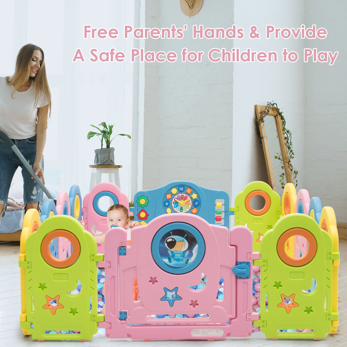 14 Panel Baby Playpen Kids Activity Center w/ Gate Indoor & Garden Baby Fence