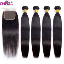 Straight strands of mshere with closure strands of Brazilian hair with strands locks of human hair with closure hair extension