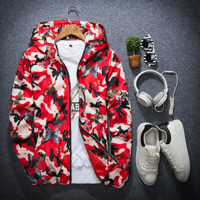 Mens Casual Camouflage Hoodie Jacket 2018 New Autumn Butterfly Print Clothes Men's Hooded Windbreaker Coat Male Outwear WS505 3