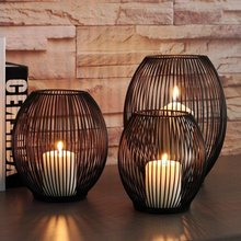 Suporte de vela de ferro oco castiçal lanterna formas geométricas centro mesa café preto sala estar decoração casa presentes