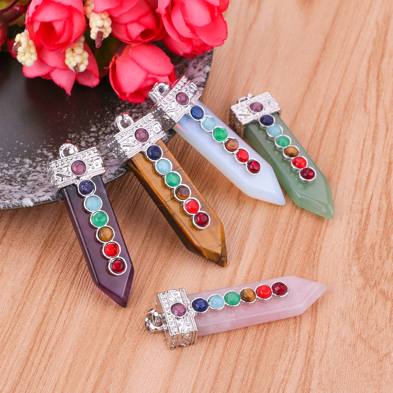 Reiki stone quartz pendant necklace natural stone square pillar crystal pendant 7 chakra balance healing pendant necklace