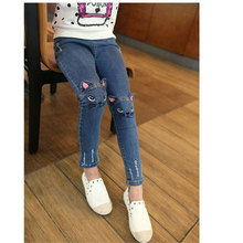 Jeans for Girls Hot Sale Fashion Embroider Denim Pants Cute Cat Elastic Waist Pants Kids Skinny Jeans for Baby Girls Trousers