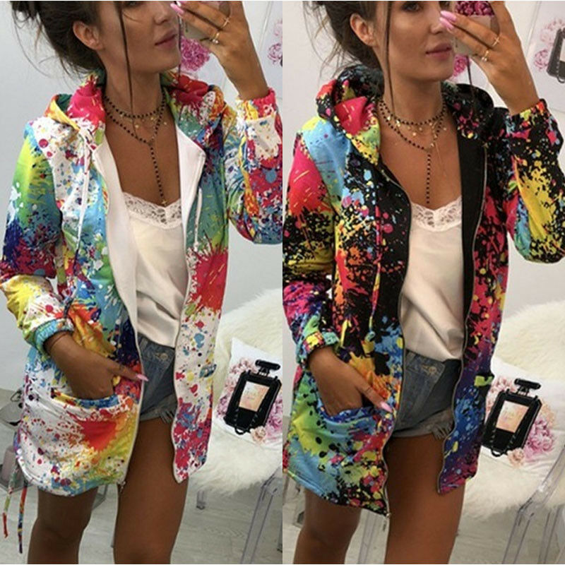 Hoody Women's Long Hooded Sweatshirt Colorful  Print Windbreaker Parka Autumn Clothes Jacket Coat Outwear Overcoat