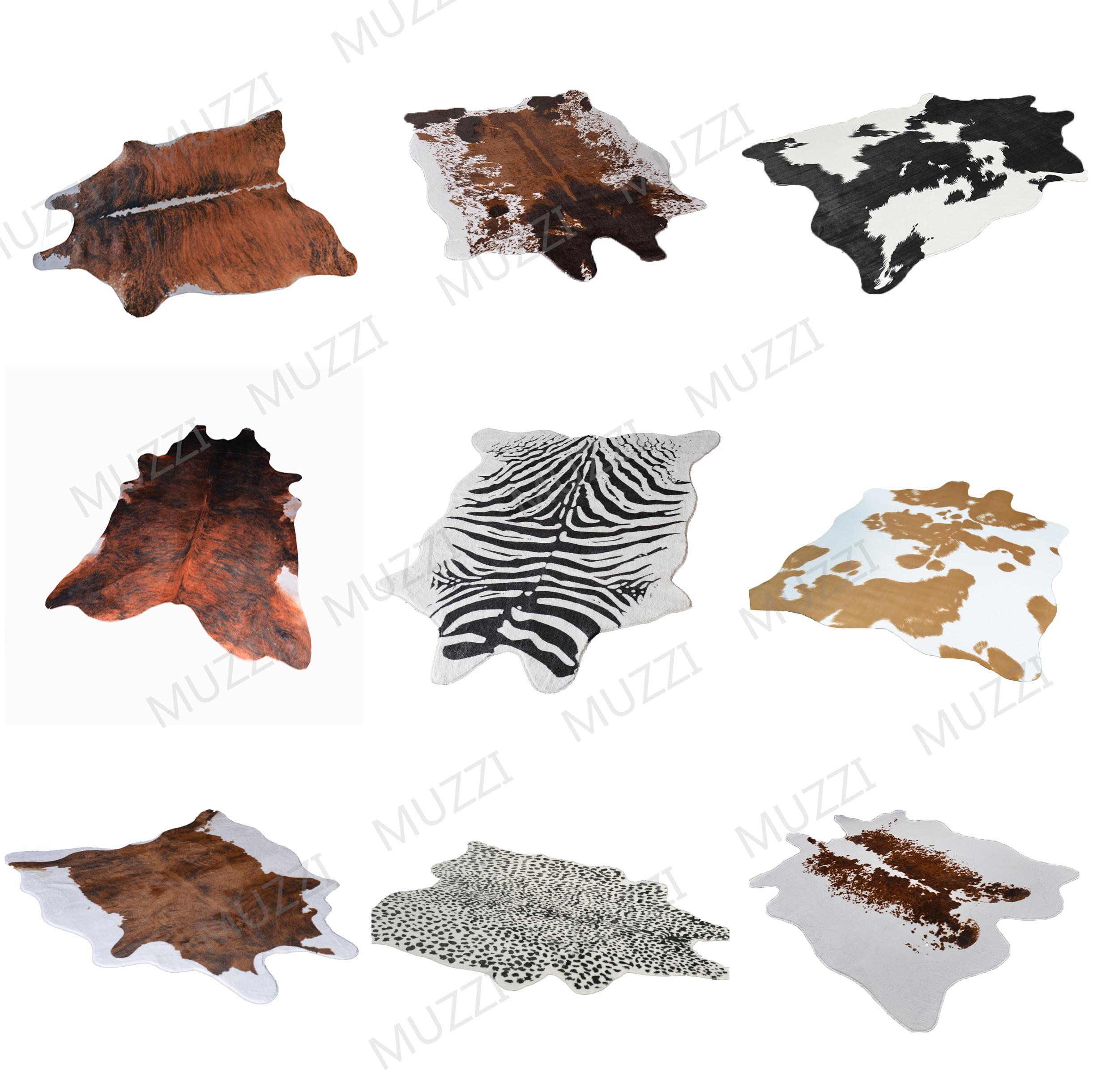2019 Fashion Cowhide Rug Zebra Stripe Carpet White Tiger Leopard Faux Skin Fur Villi Black Bear Mat Sheep Cushion