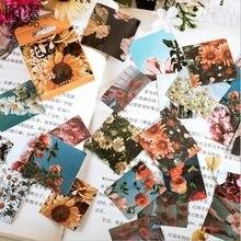Boîte de 46 pièces/boîte autocollants plante créative, décoration d'album style rétro, film polaroid, fleur de soleil, 45MM