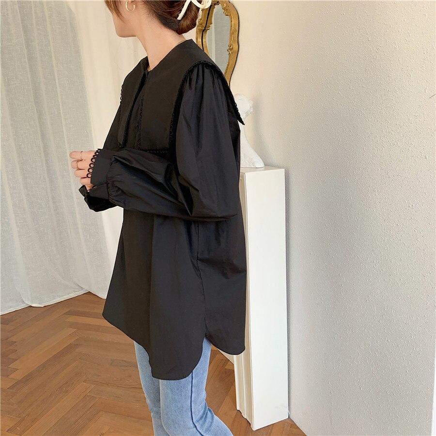 Hc23e2515bf494499ac1facc75a16714fg - Spring / Autumn Puritan collar Long Sleeves Solid Blouse
