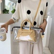 JIULIN nuevo Jelly transparente bag2019 nuevo verano fresco bolso para alas coreano de un solo hombro bolso con diseño oblicuo big bag