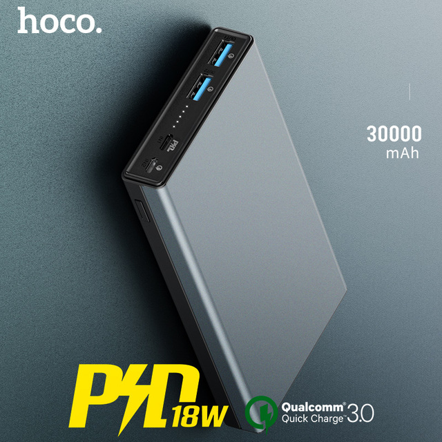 HOCO 30000mAh Power bank 18W USB Type C External Batteries QC3.0 PD Two way Fast Charging Powerbank LED Display Mobile Charger