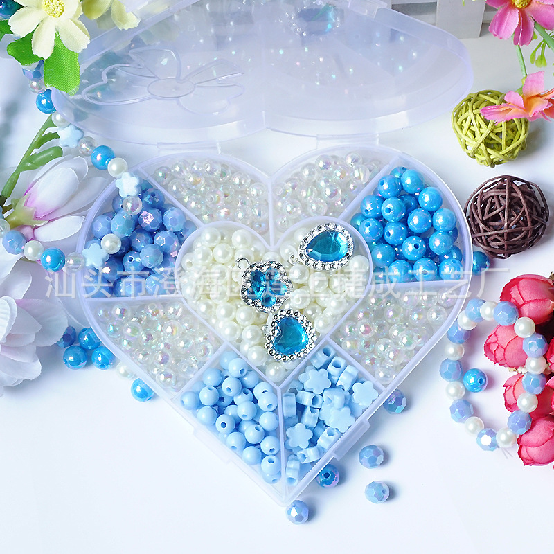 Children DIY Educational Handmade Bead Toy Early Education Blue Beaded Bracelet Handmade Loose Beads Toy Gift Box