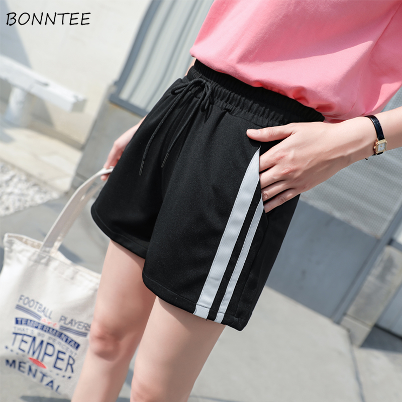 Shorts Women All-match Leisure Trendy Breathable High Quality Womens Korean Style Pocket Patchwork Elastic Waist Ladies Simple