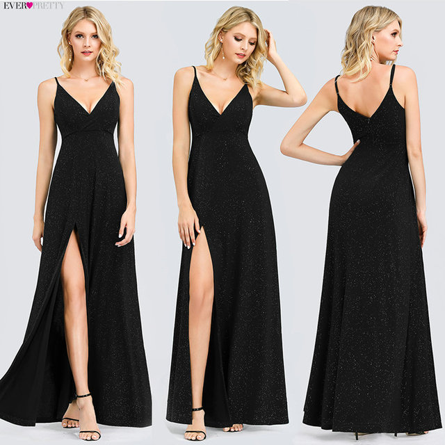 Sexy Navy Blue Evening Dresses Ever Pretty EP07845 Sexy V-neck Sparkle Leg Slit Long Formal Party Gowns Abendkleider 2020 3