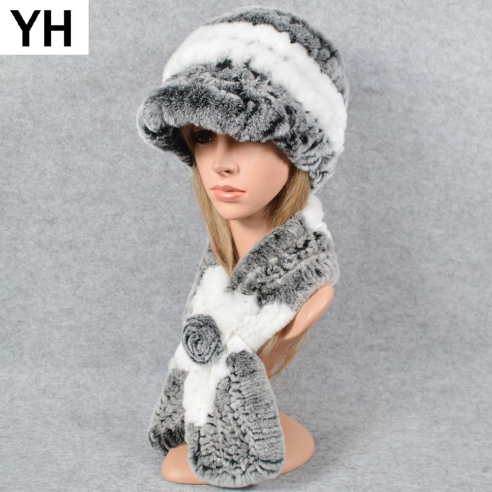 2021 New Soft Lady Knit Real Rex Rabbit Fur Hat Scarf Women Winter Rex Rabbit Fur Cap Scarves Natural Rex Rabbit Fur Poncho Hats
