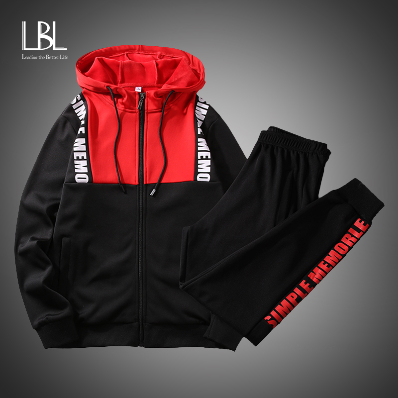 Tracksuit Set Men Spring Autumn Sport Suit Hooded Sweatshirts+Pants Hip Hop Patchwork Two Piece Set For Men Sweatsuit Clothing