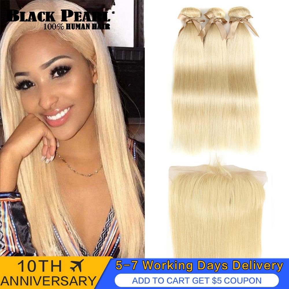 Black Pearl 613 Blonde Bundles With Frontal Straight Remy Hair Bundles Blonde Brazilian Hair Weave 2/3 Bundles With Frontal