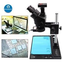 3.5X 90X 블랙 Trinocular 스테레오 현미경 14MP 16MP 21MP 38MP HDMI 디지털 비디오 카메라 현미경 전화 납땜 현미경
