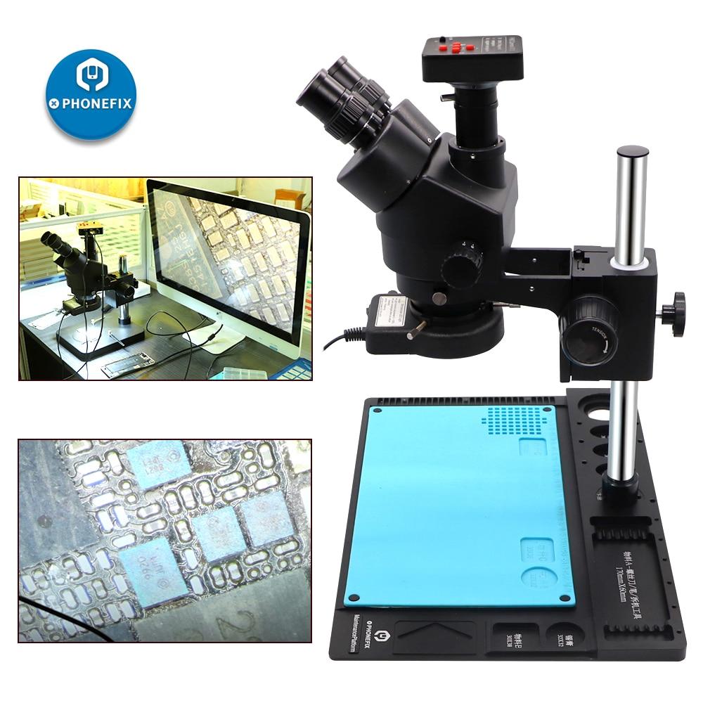 Microscope stéréo trinoculaire de Microscope noir de 3.5X-90X 14MP 16MP 21MP HDMI Microscope de soudure de téléphone de Microscope d'appareil-photo numérique