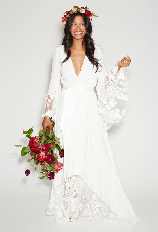 Hot Sale Boho Beach Wedding Dresses Long Bell Sleeve Lace Flower Bridal Gowns Plus Size Hippie Bohemian Wedding Dress Cheap Vest