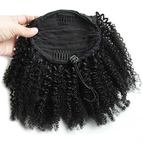Eseewigs 100% Brazilian Virgin Human Hair 4B 4C Afro Kinky Curly Natural Color 1Piece/Lot Adjustable Clip-in Ponytail