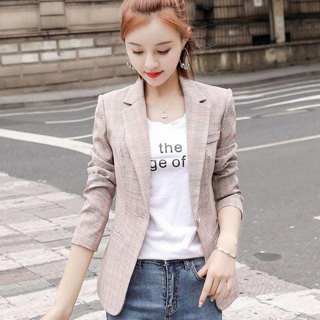PEONFLY Vintage Single Button Office Ladies Plaid Blazer Casual Korean Style Long Sleeve Coat Jacket Women Blazers Female 3