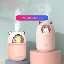 300ml umidificador de ar bonito gato difusor usb aromaterapia umidificador névoa fria maker com luzes da noite para o escritório em casa