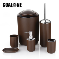 GOALONE 6Pcs/Set Luxury Bathroom Accessories Plastic Toothbrush Holder Cup Soap Dispenser Dish Toilet Brush Holder Trash Can Set