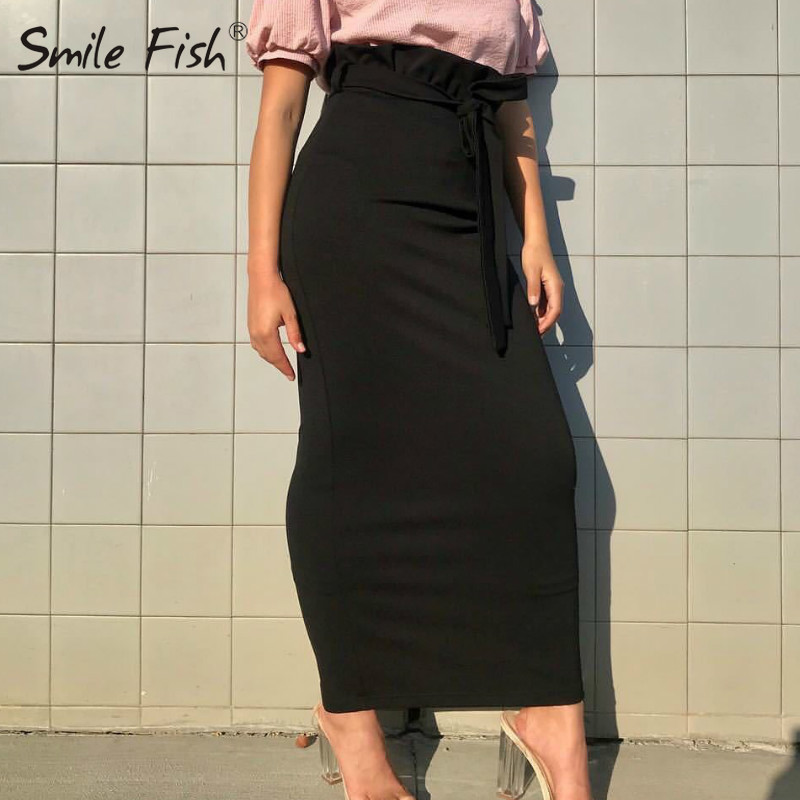 Winter Autumn Women's Skirts Ruffles Solid Black White High Waist Skirts Sheath Women Bodycon Pencil Long Skirt Femme New GV798