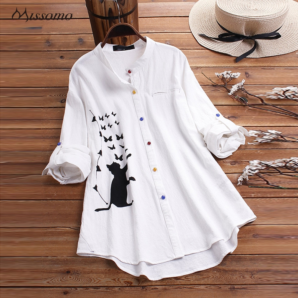 MISSOMO T Shirt Women Casual Cat Print Long Sleeve Colorful Button Office Lady Tshirt Womens Tops Vintage Harajuku Shirt Clothes