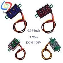 Mini voltímetro digital, voltímetro digital medidor de tensão 3 fios 0.36 Polegada dc 0- 100v vermelho digital led peças eletrônicas voltímetro digital acessórios
