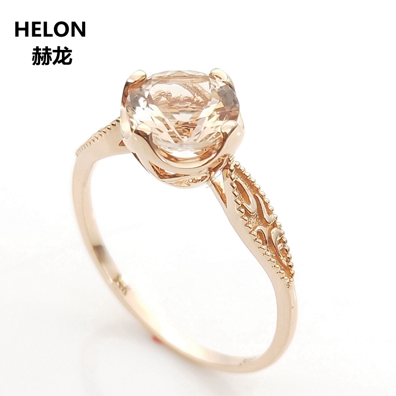 Solid 14k Rose Gold Natural Morganite Engagement Wedding Ring for Women Vintage Fine Jewelry Anniversary Party