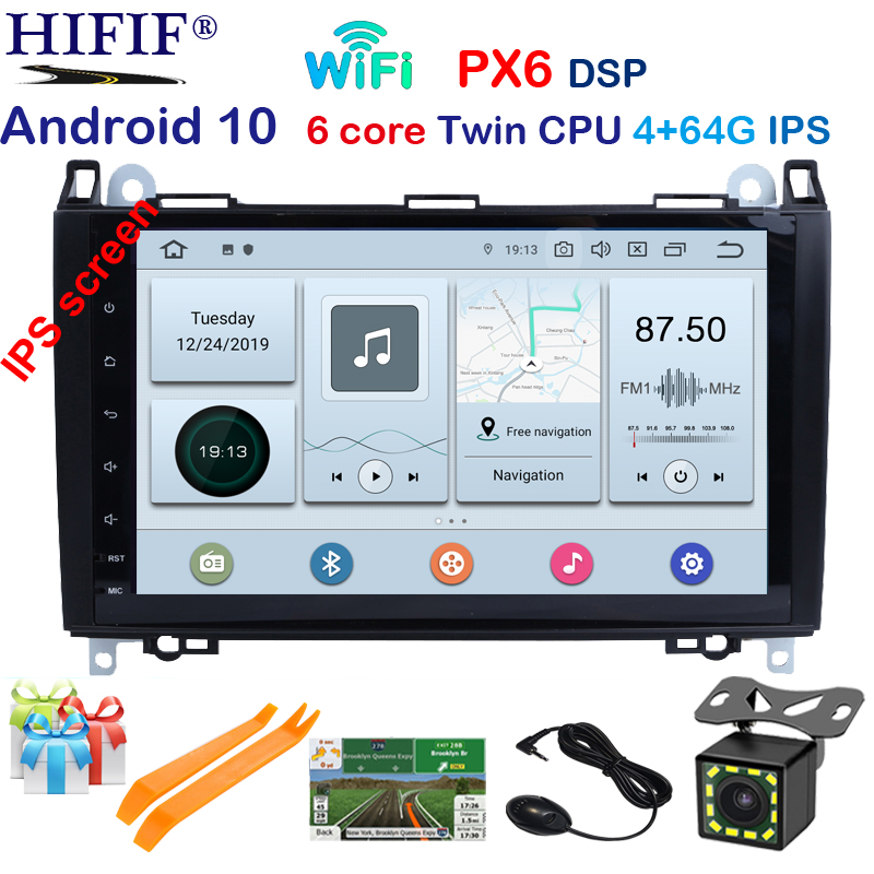 PX6 IPS 9'' Car multimedia player android 10 GPS radio for Mercedes Benz B200 A B Class W169 W245 Viano Vito W639 Sprinter W906 image