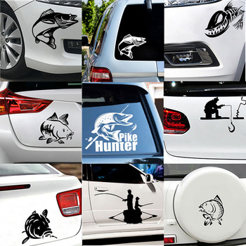 Car-styling Funny Go Fishing and Carp Hunter Car Decal Stickers 3D Car Styling Decoration on The Car Window Vinyl Glue Sticker 2pcs 3d charming black fake eye lash sticker car headlight decoration funny decal