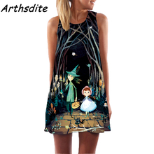 Arthsdite 2017 Creative Boho Retro Summer Dress Floral Print Vintage Flower Character Beach Women Clothing Vestidos