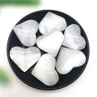 1pc polido branco selenite scalloped cristal coração escultura decoração para casa pedras e minerais