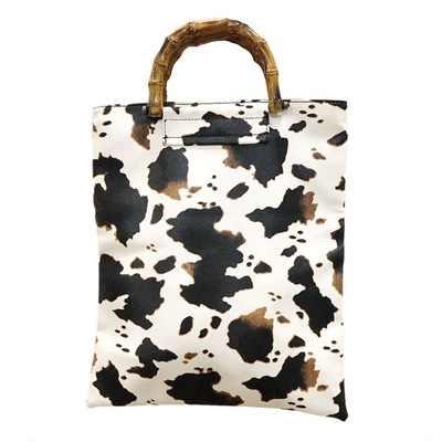 2020 Nieuwe Ins Wind Bag Vrouwelijke Retro Melk Koe Patroon Grote Capaciteit Bamboe Handtas Mode Bolsa Feminina Torebki Damskie