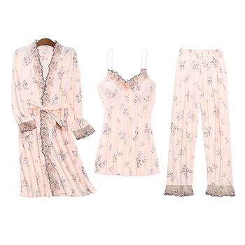 3PCS Sexy Lace Lingerie Cotton Pajama Set for Women 2020 Spring Autumn Long Sleeve Robes Sleepwear Homewear Pijama Mujer Clothes