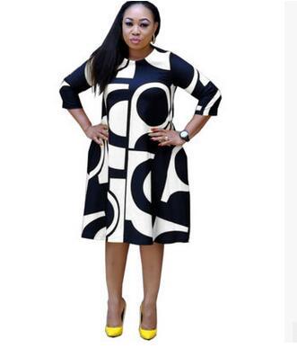 Plus-Size Dress Women Midi Winter O-Neck Polka Dot Print Long Section Ladies Office Gown Big Dresses 5