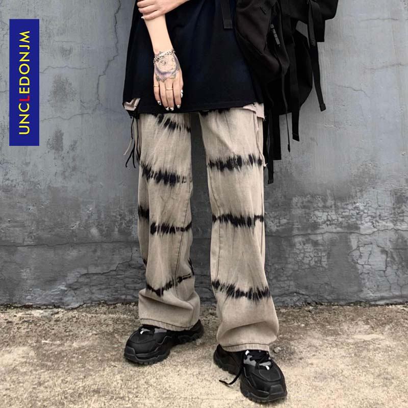 UNCLEDONJM 2020 Streetwear Men Loose Denim Pants Tie Dyed Vintage Denim Jeans Harajuku Joggers Trousers AN-C045