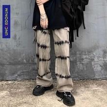 UNCLEDONJM 2020 уличной моды мужчин тонкий джинсовые брюки галстук окрашенные старинные джинсы свободного покроя бегунов брюки АН-C045