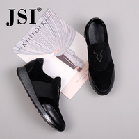 JSI Winter Women Flats Kid Suede Bling Pointed Toe Solid Slip On Genuine Leather Casual Shoes Chunky Platform Women Flats JC296